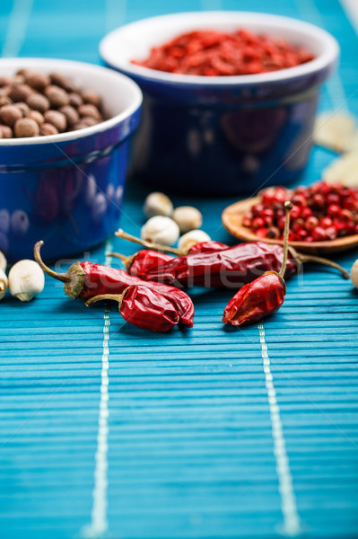 Condimento alimentos azul mantel loto especias Foto stock © grafvision