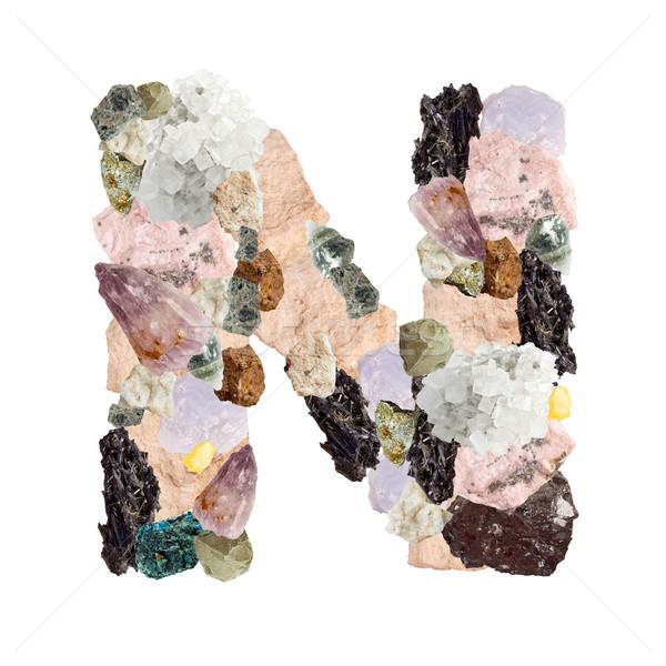 Minerali alfabeto isolato bianco metal Foto d'archivio © grafvision