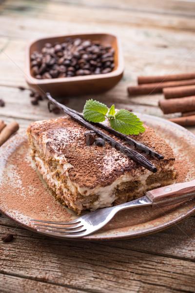 Tiramisu adag tányér kávé torta tej Stock fotó © grafvision