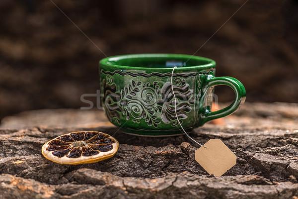 Zöld tea csésze kávé bár ital táska Stock fotó © grafvision