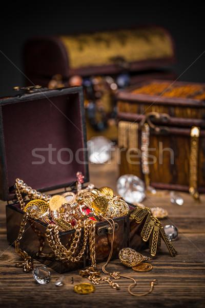 Сток-фото: древесины · золото · Diamond · сокровище