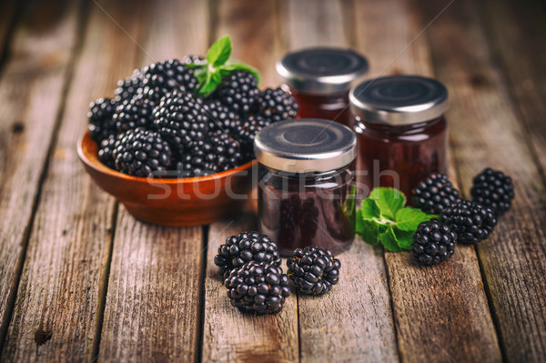 вкусный BlackBerry Jam свежие Ягоды деревенский Сток-фото © grafvision