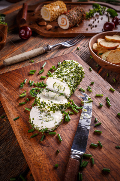 Cheese with chives Stock photo © grafvision