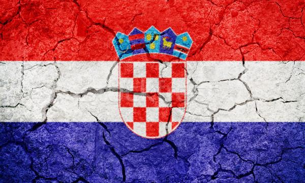 Cumhuriyet Hırvatistan bayrak kuru toprak zemin Stok fotoğraf © grafvision