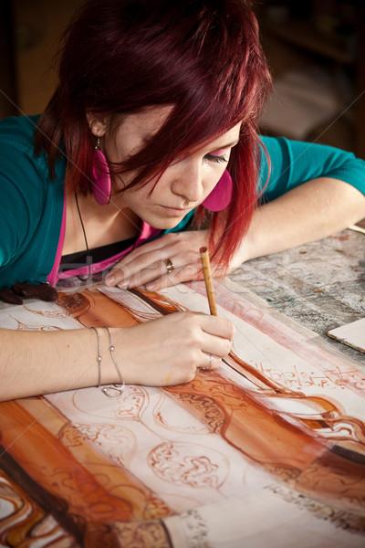 молодые женщины художник Живопись студию женщину Сток-фото © grafvision
