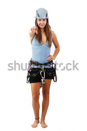 Woman in climbing helme Stock photo © grafvision