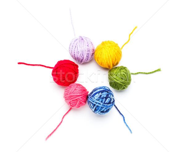 ストックフォト: ウール · 糸 · 赤 · 色 · 白