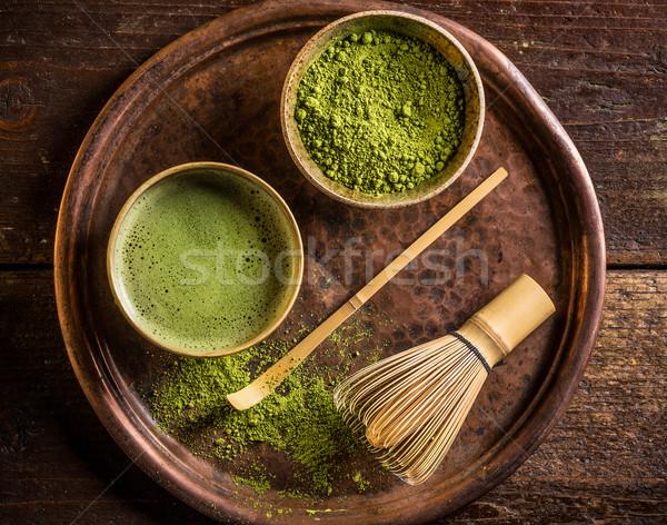 Японский зеленый чай зеленый чай служивший бамбук Сток-фото © grafvision