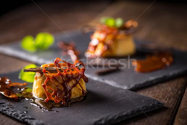 Caramelo pudim sobremesa baunilha de decoração Foto stock © grafvision