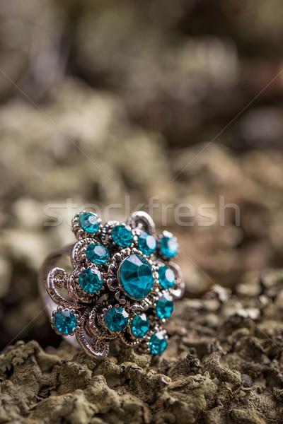 Gyűrű kövek közelkép kicsi kék üveg Stock fotó © grafvision