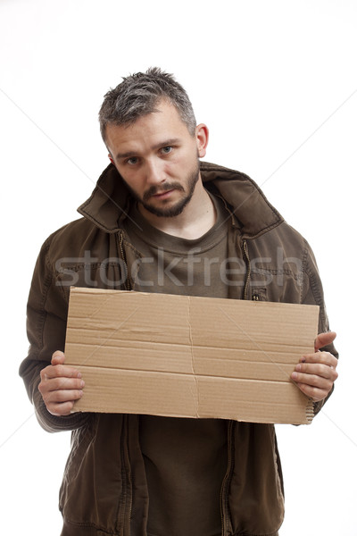 Beggar holding carton Stock photo © grafvision