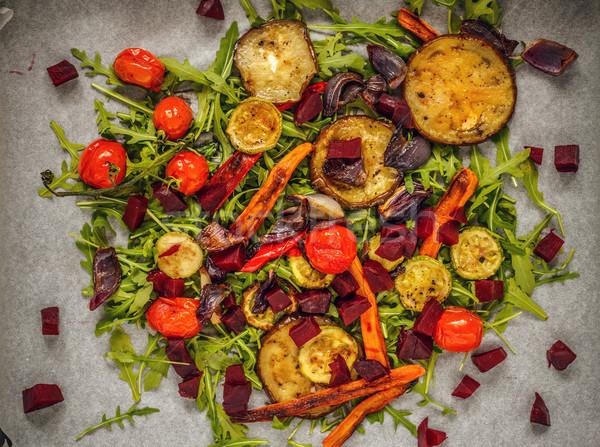 Gegrild groenten raket bed top Stockfoto © grafvision