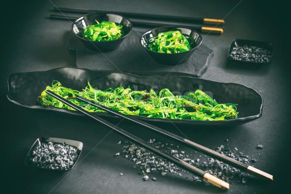 Japans zeewier salade saladeschaal zwarte achtergrond Stockfoto © grafvision