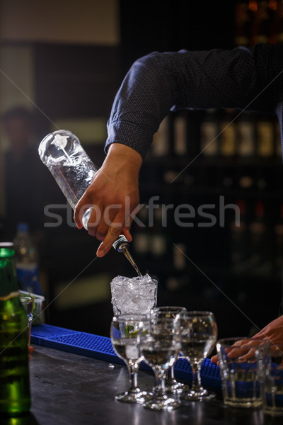 Bartender pours syrup Stock photo © grafvision