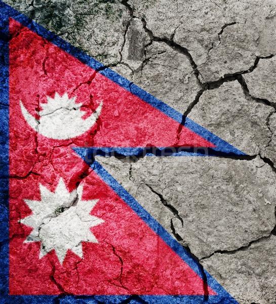 Szövetségi demokratikus köztársaság Nepál zászló száraz Stock fotó © grafvision