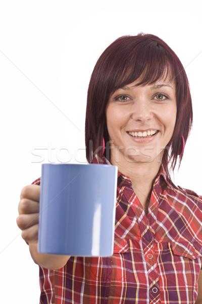 Kobieta kubek herbaty portret piękna młoda kobieta Zdjęcia stock © grafvision