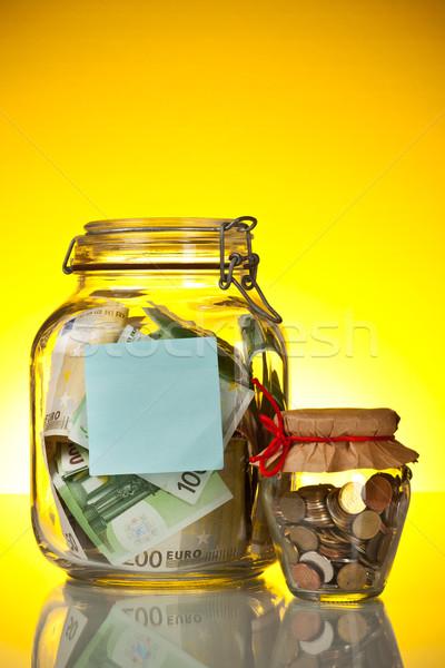 üveg bank tippek pénz citromsárga levélpapír Stock fotó © grafvision