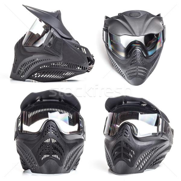 Paintball máscara blanco fondo grupo militar Foto stock © grafvision