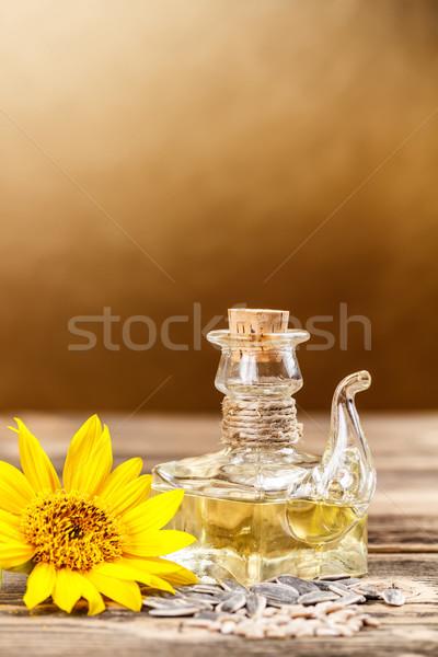 óleo de girassol girassol sementes vidro cozinhar conselho Foto stock © grafvision