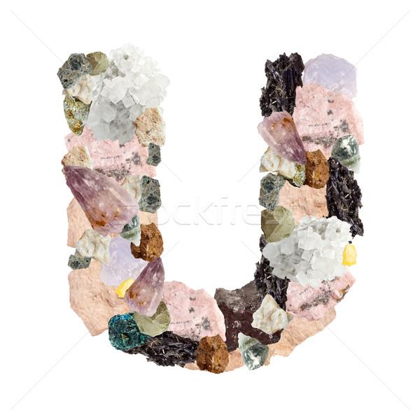 Minerali alfabeto isolato bianco lettera metal Foto d'archivio © grafvision