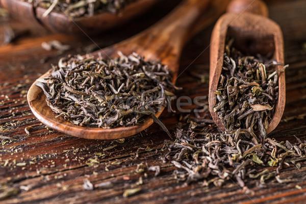 сушат зеленый чай листьев ложку древесины Сток-фото © grafvision