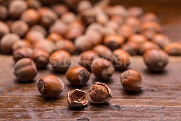 Mogyoró öreg fából készült felület étel fa Stock fotó © grafvision