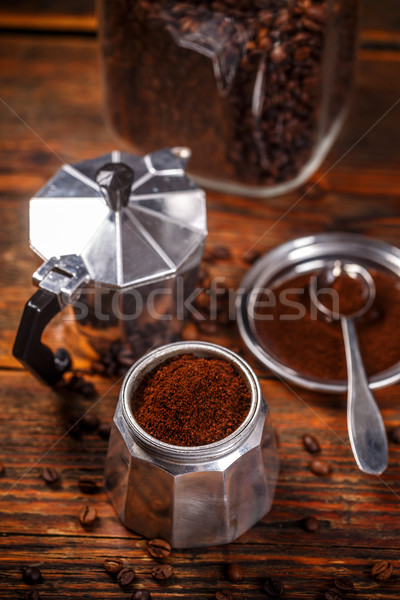 старые кофе кофеварка Vintage стиль Сток-фото © grafvision