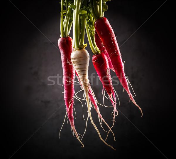 Taze uzun turp karanlık gıda yeşil Stok fotoğraf © grafvision