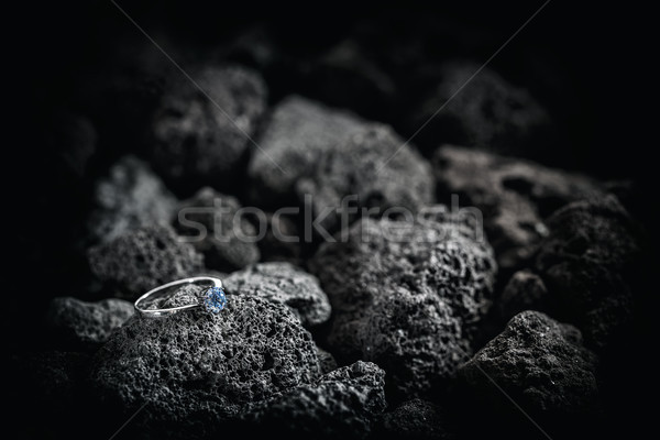 Silver ring with crystals Stock photo © grafvision