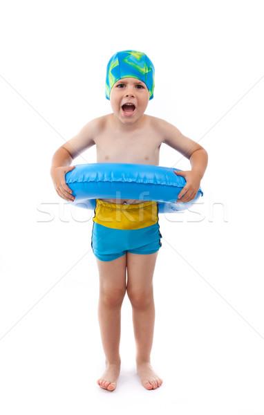 ストックフォト: 少年 · 演奏 · 青 · 生活 · リング · 面白い