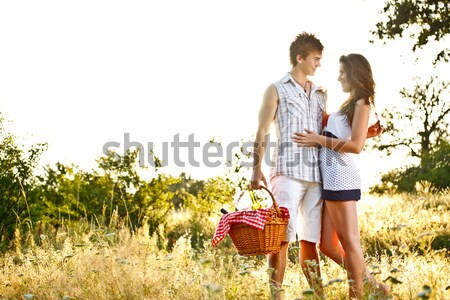 Foto stock: Jóvenes · romántica · Pareja · besar · manera · mujer
