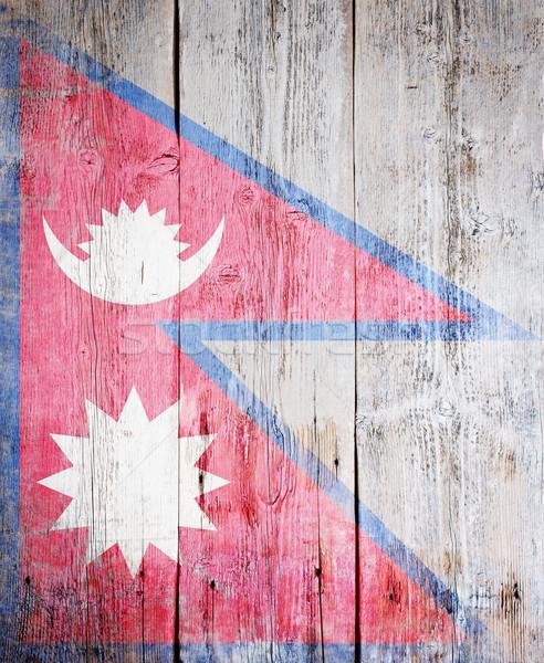 флаг Непал окрашенный древесины доска Сток-фото © grafvision