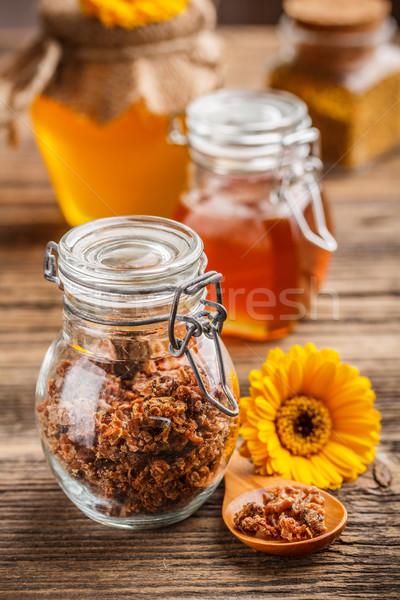 Propolis glas jar ingericht gele bloem bloem Stockfoto © grafvision