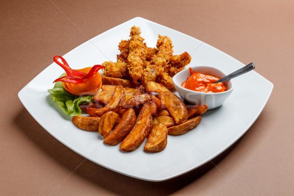Croccante pollo patate cena veloce Foto d'archivio © grafvision