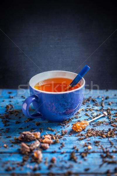 Fincan çay mavi ahşap içmek Stok fotoğraf © grafvision