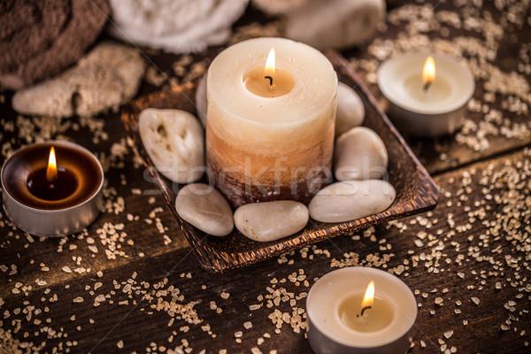 Aromaterapi mumlar karanlık ahşap ahşap doğa Stok fotoğraf © grafvision