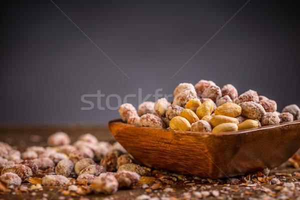 Sózott földimogyoró űr szöveg étel Stock fotó © grafvision