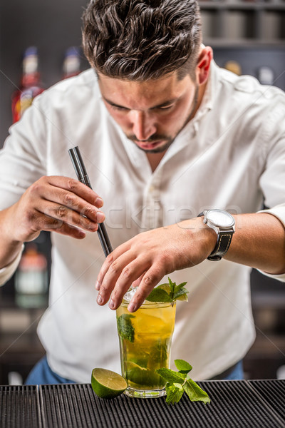 Barman mojito cocktail drinken bar restaurant Stockfoto © grafvision