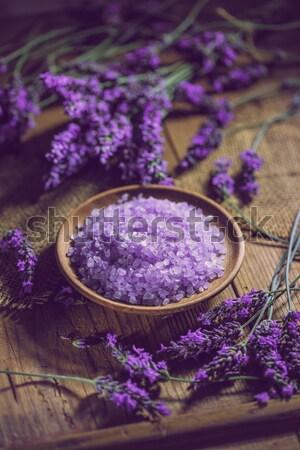 Fürdősó fából készült tál friss levendula virágok Stock fotó © grafvision