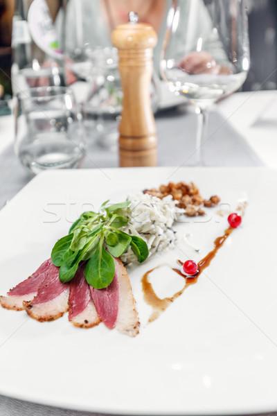 Gans borst filet voorgerechten plaat veroudering Stockfoto © grafvision
