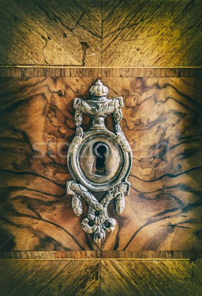 Antique métal serrure vieux bois armoire Photo stock © grafvision