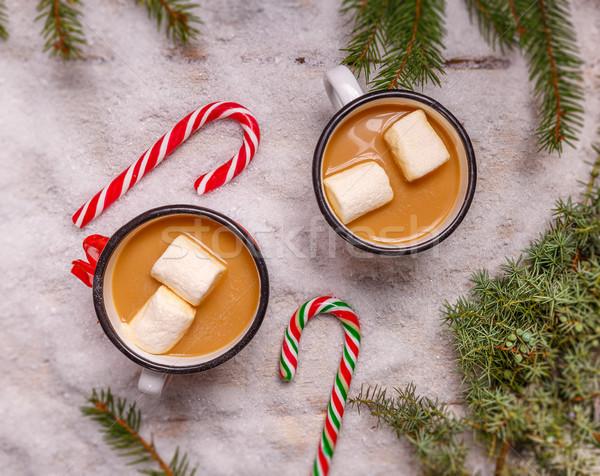 Forró csokoládé felső kilátás kávé asztal piros Stock fotó © grafvision