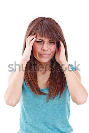 Fiatal nő fejfájás kéz a kézben fej nő kéz Stock fotó © grafvision