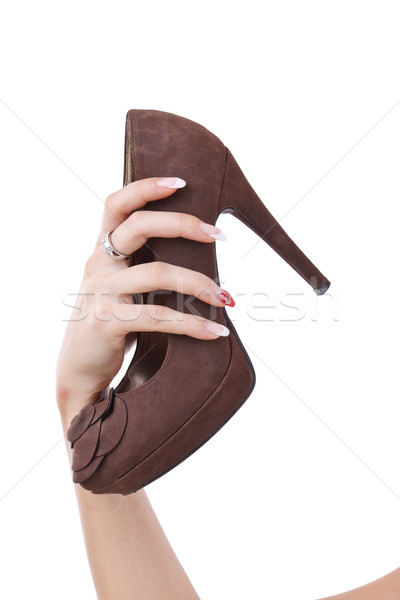 female holding brown shoe  Stock photo © grafvision