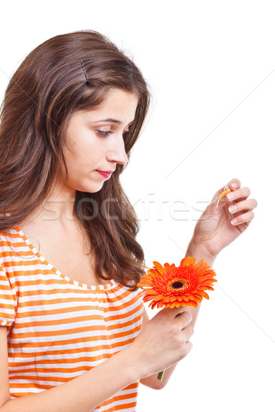 Woman tearing petals Stock photo © grafvision