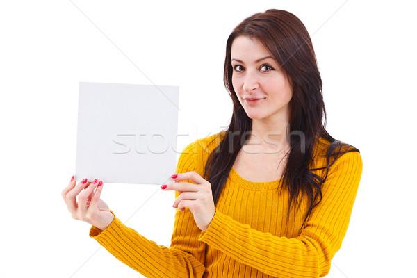Kadın boş kart portre çekici Stok fotoğraf © grafvision