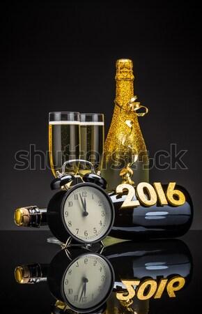 Stock fotó: Pezsgő · szemüveg · kész · új · év · buli · boldog