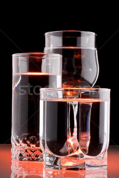 Tiszta víz három üveg fekete ital tiszta Stock fotó © grafvision