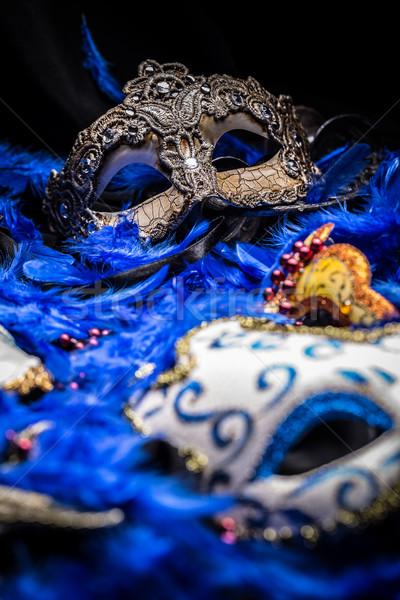 Stok fotoğraf: Kadın · karnaval · maskeler · mavi · tüy · parti