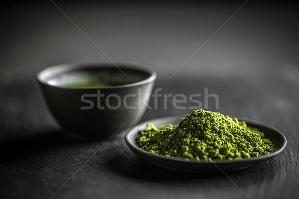 Zöld tea japán tea por ital tányér Stock fotó © grafvision